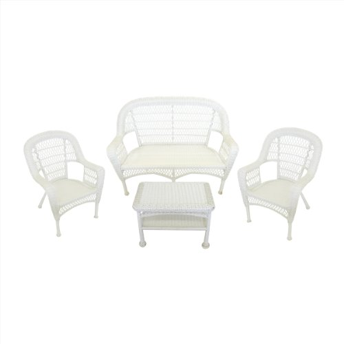 4-Piece White Resin Wicker Patio Furniture Set