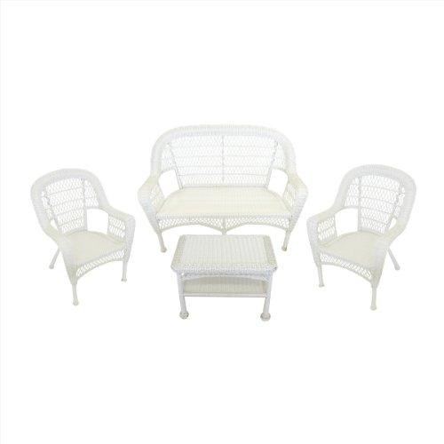 4-Piece White Resin Wicker Patio Furniture Set