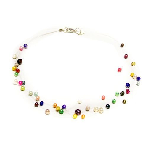 Pearl Necklace - 19 inches 5-6mm Multi Color Freshwater Pearl Fishline Necklace