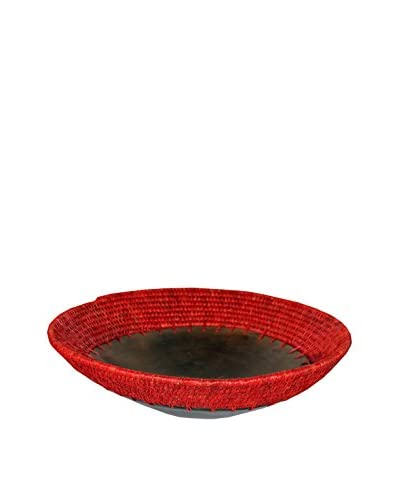 Asian Loft Hand-Woven Grass Wicker and Clay Fruit Bowl, Yellow/Orange/Black