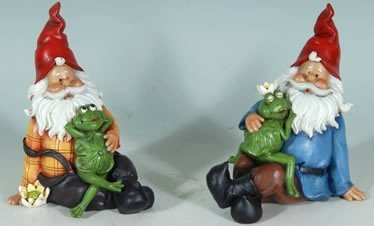 Garden Gnome with Whimsical Frog Pair