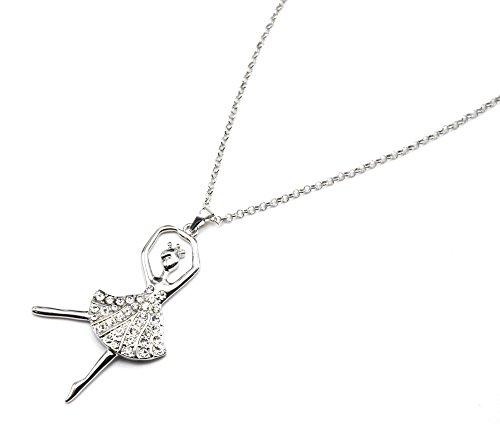 CL1166D-Collana lunga catena ciondolo in metallo argentato, motivo: ballerina, con Strass, motivo basket