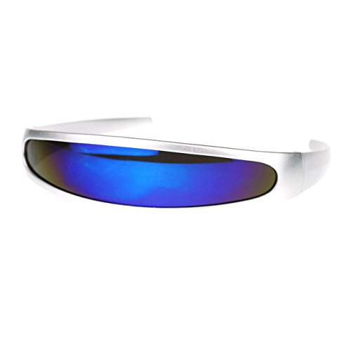 Futuristic mirrored Lens Cyclops Robot Outter Space Party Shade Sunglasses Silver Blue (Futuristic Space Costume compare prices)