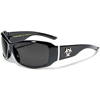Biohazard Lunettes Soleil - Ville - Mode - Fashion - Conduite - Moto - Plage - Tennis - Golf / Mod. Sunlight Noir / Taille Unique Adulte / Protection 100% UV400