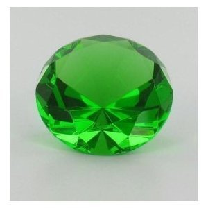 "Beautiful Green Shining Glass Diamond Paperweight 3"" 80mm Great Christmas Gift"