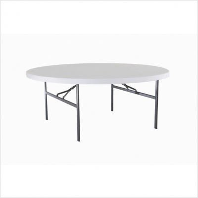 Lifetime 22673 72-Inch Round Folding Table with Molded Top, White-Granite