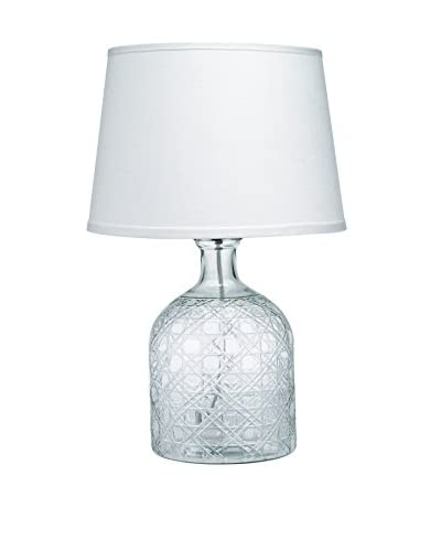 Jamie Young Company Cut Glass Jar Table Lamp With Small Cone Shade, Clear