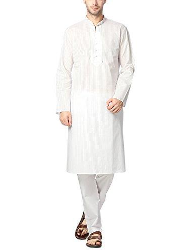 Peter England Men's Polyester Kurta Pyjama (8907206437635_POFL5140246_96_White)