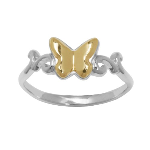 10k Yellow Gold Sterling Silver Anti-Tarnish Two-Tone Butterfly Ring, Size 7