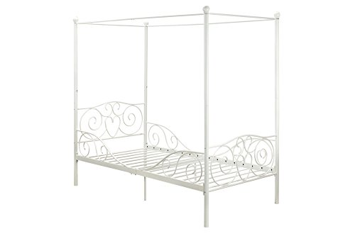 DHP Canopy Metal Bed- Twin, White (Twin Canopy Frame compare prices)
