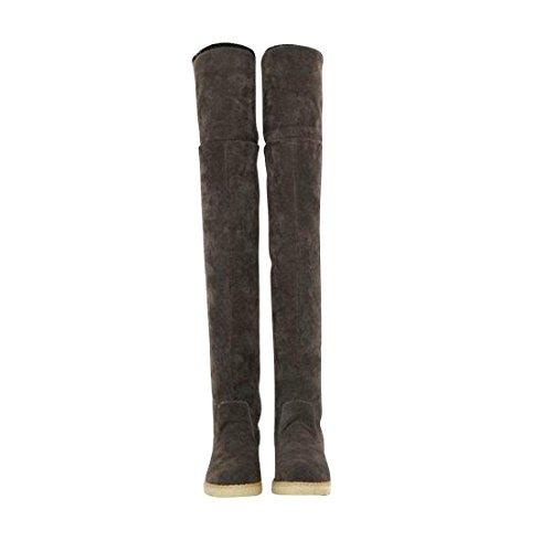 jeansian Moda Sopra il Ginocchio Scamosciato Scarpe Stivali Boots Shoes WSB049 Brown 39