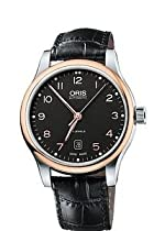 Oris Classic Date Automatic Black Dial Rose Gold Pvd Mens Watch 733-7594-4394ls