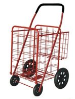 Medium Red Folding Shopping Cart with Double Basket