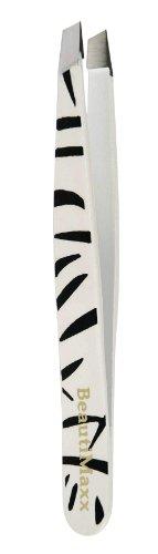 Beautimaxx 3.5-inch White Zebra Slant Tip Eyebrow Tweezer