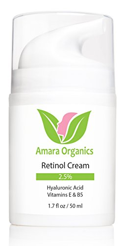 Amara Organics Retinol Cream for Face 2.5% with Hyaluronic Acid & Vitamins E & B5, 1.7 fl. oz