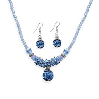 TJC Jewellery Set With Blue Glass Stone