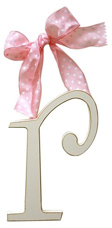 New Arrivals Wooden Letter R with Pink Polka Dot Ribbon, Cream