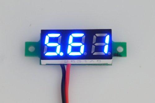 """Liroyal 0.28"""" Mini 2 Wire Dc Voltmeter 2.5~30V Digital Display Voltmeter Gauge Led Voltage Detector (Blue)"""