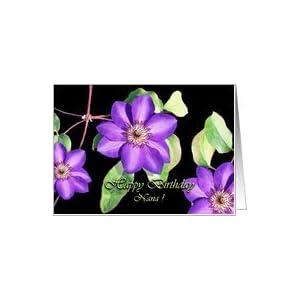Amazon.com: Birthday Card for Nana, Purple Clematis Car