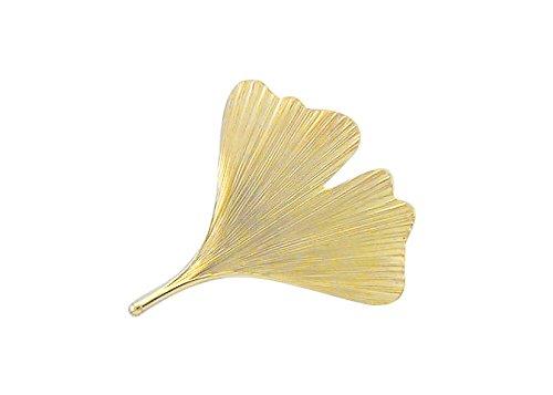 Damen Schmuck Gold Brosche Ginkoblatt aus 14 Karat (585) Gelb Gold ( 36,4 x 32,4 mm ) günstig kaufen
