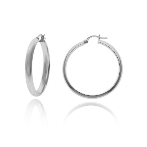 Sterling Silver Flat Polished Hoop Earrings (1.2