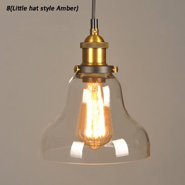 Industrial Creative Glass Pendant Light Loft Restaurant Bar Bulb Hanging Ceiling Lamp Fixture