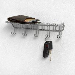 Chrome Wall Mounted 5 Key Hook With Storage Shelf