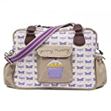Yummy Mummy Stylish Nursery Changing Bag - Colour Purple Dragonflies - Includes Travel Changing Mat Cupcake Design Luxury Baby Bag