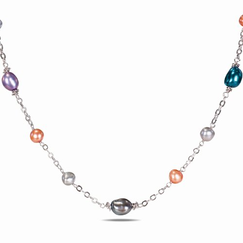 White Brass Freshwater Multi-colored Multi-Shaped Pearl Necklace with Chain (18 in)
