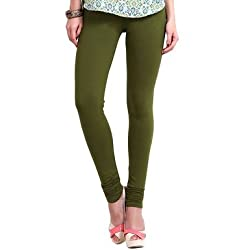 Perfect Collections Women Cotton Legging (Color: Green, Size: Free Size)