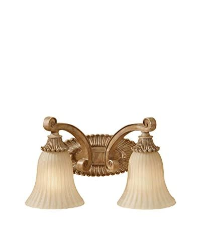 Feiss 2-Light Vanity Fixture, Medium Aged Wood