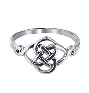LWRS127-7 Sterling Silver Polished Finish 10 x 20mm Celtic Rounded Knot Design 2mm Wide Band Ring Size 7