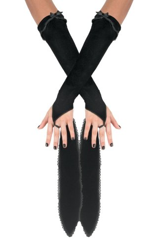 Black Bow Glovettes Gloves for Adults Costume