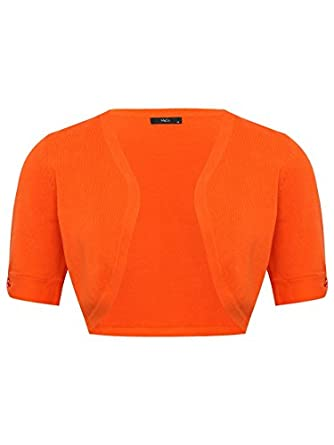 M&Co Ladies Edge To Edge Bow Detail Short Sleeve Cardigan Shrug Orange 10
