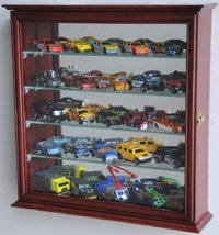 Mirrored back Hot Wheels / Matchbox / Diecast / Train Display Case Cabinet, Cherry