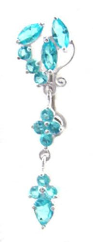 Aqua Lt Blue Fancy Sexy Unique Flower Cluster Dangle 925 Sterling Silver Reverse Top Mount Belly Button Navel Piercing Bar Body Jewelry Ring 14G