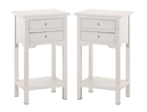White Wooden Bedside Tables 2923 front