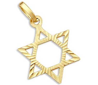 Solid 14k Yellow Gold Star of David Charm Pendant New