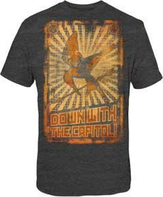 The Hunger Games - Down W/Capitol Poster Adult T-Shirt In Heather Charcoal, Size: X-Large, Color: Heather Charcoal