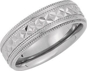 7 mm Comfort Fit Titanium Embossed Diamond Cut Double Milgrain Band, Size 7.5