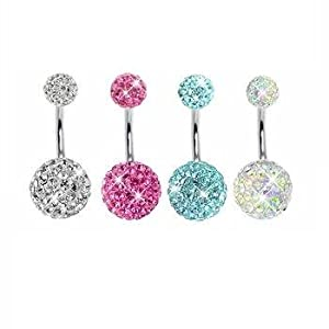 Lot of 4 Pieces Belly Button Ring Swarovski Element Crystal Stones Double Gem Clear, Pink, Aquamarine, ABCrystal Belly Bling Rings Banana Curve Piercing + 1 Free Belly Retainer 14G (1.6mm)