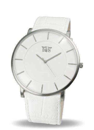 Davis 0911-Montre Design Unisex Blanche- Quartz-Cadran Blanc-Boîte Extra plate-Bracelet Cuir Blanc