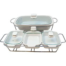 Le Chef White Ceramic Bakeware/ Serving Tray Set
