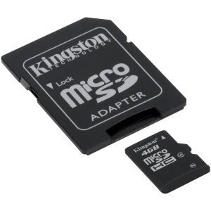 Professional Kingston MicroSDHC 4GB (4 Gigabyte) Card with custom formatting and Standard SD Adapter. (SDHC Class 4 Certified)