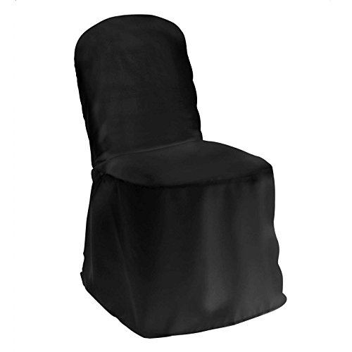 Lann's Linens Premium Polyester Banquet Chair Cover - for Wedding or Party Use - Black - 10pcs