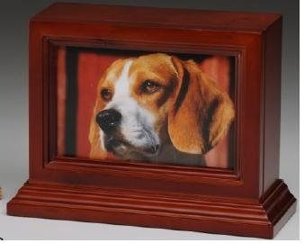 4'' x 6'' Photo Frame Pet Urn with Base - Cherry Wood