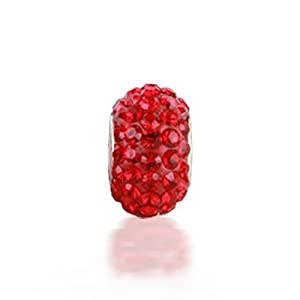 Christmas Gifts Bling Jewelry 925 Sterling Silver Red Swarovski Crystal Bead Fits Pandora Charm