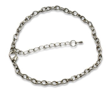 Platinum Color 7 1/2 inch Iron Chain Link Bracelet