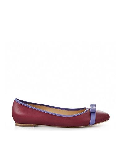 ShoeVita Damen Leder Ballerina Bordeaux & Violett