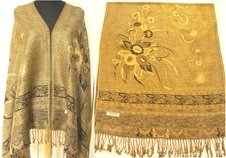 Gold Deosai Design Pashmina & Silk Shawl - 2 Ply Reversible Shawl Scarf Wrap Stole Throw